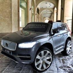 Электромобиль VOLVO XC90 серый (колеса резина, сиденье кожа, пульт, музыка)