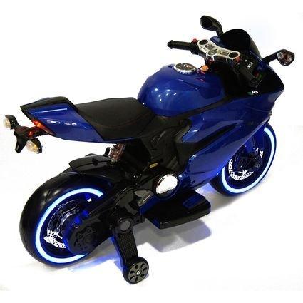 Электромотоцикл Ducati синий (колеса резина, сиденье кожа, музыка, страховочные колеса)