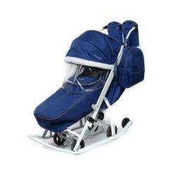 Санки-коляски Pikate Арктик синий (мембранная ткань, овчина, 3 положения спинки, краска рамы белый)