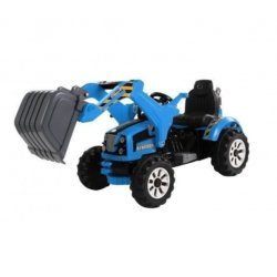 Детский электромобиль трактор на аккумуляторе синий- JS328B-B (колеса накладки резина, ковш)