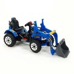 Детский электромобиль трактор на аккумуляторе синий- JS328A-B (колеса накладки резина, ковш верхний)