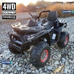 Электроквадроцикл XMX607 4WD черный карбон (полный привод, колеса резина, кресло кожа, пульт, музыка)