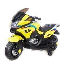 Электромотоцикл Moto XMX609 желтый (колеса резина, сиденье кожа, музыка, страховочные колеса)