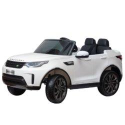Электромобиль Land Rover Discovery белый (колеса резина, кресло кожа, пульт, музыка)