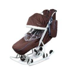 Санки-коляски Pikate Арктик коричневый (мембранная ткань, овчина, 3 положения спинки, краска рамы белый)